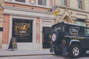 New burger bar blasts the streets clean with 'filthy' logo