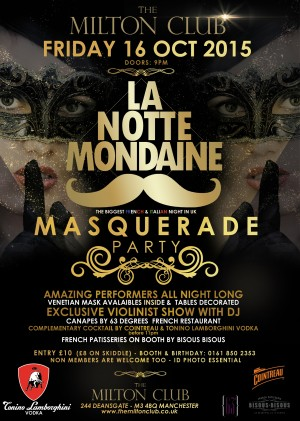 La Notte Mondaine MASQUERADE PARTY - The Biggest French & Italian Night in the UK